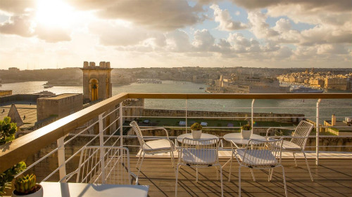 Ursulino Boutique Hotel Valletta stunning sunset roof top harbour view