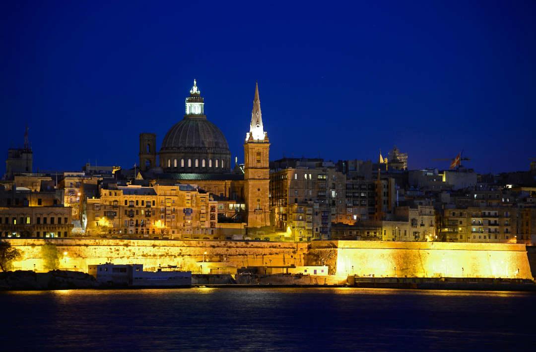 Valletta at night lit up ursulino valletta boutique hotel